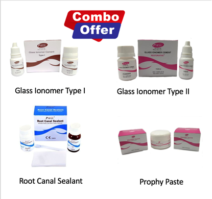 Picture of Combo of Glass Ionomer Cement Type I + Type II + Root Canal Sealant + Prophy Paste