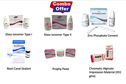 Picture of Glass Ionomer Cement Type I + Type II + Root Canal Sealant + Prophy Paste + Phosphate Cement + Alginate