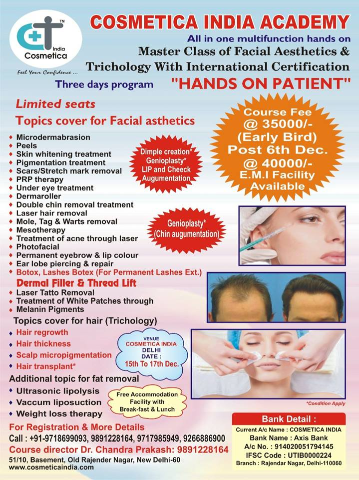 Master class of facial aesthetics and trichology with international certification