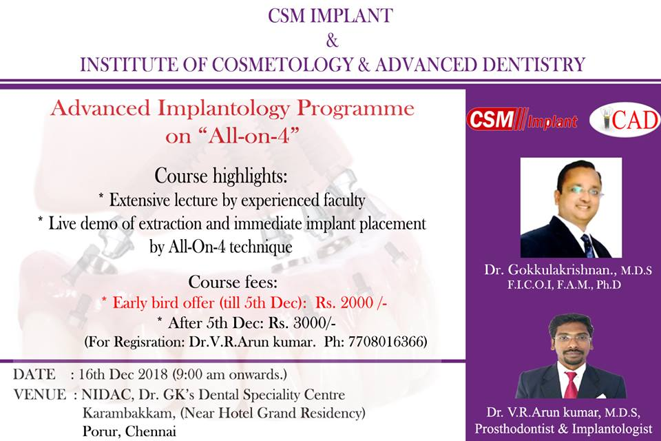 "Advanced Implantology Programme on "" All -on- 4"""