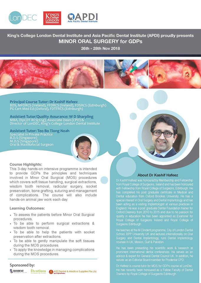 3 day Minor Oral Surgery for general Dental Practitioners