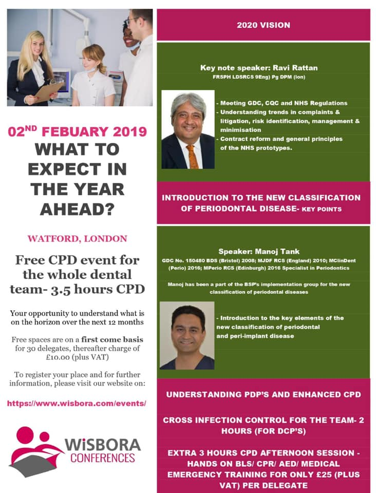FREE CPD event (limited free spaces) on 2nd February for the entire dental team - 3.5 Hours CPD Watf