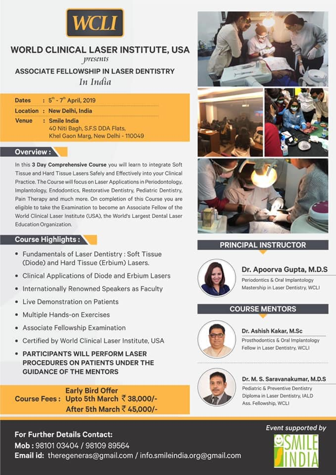 WCLI : World Clinical Laser Institute, USA - Presents - Associate Fellowship In Laser Dentistry In