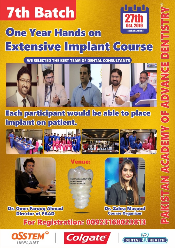 POST GRADUATE CERTIFICATE COURSE IN ORAL IMPLANTOLOGY