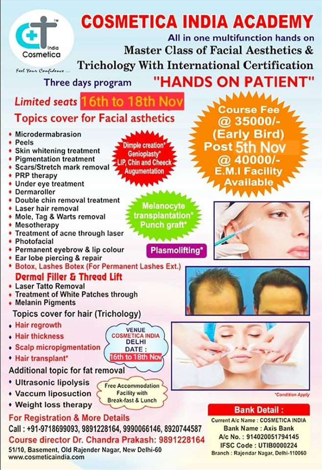 MASTER CLASS OF FACIAL AESTHETICS & TRICHOLOGY